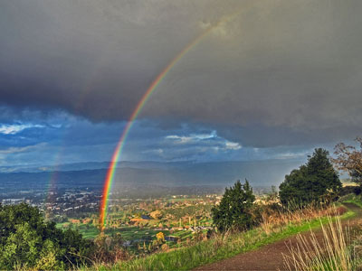 Rainbow over Santa Teresa Golf Course from the Ridge Trail